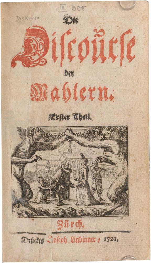 """Die Abbildung zeigt das Titelblatt des ersten Bandes des Werks """"Die Discourse der Mahlern"""" aus dem Jahr 1721."""